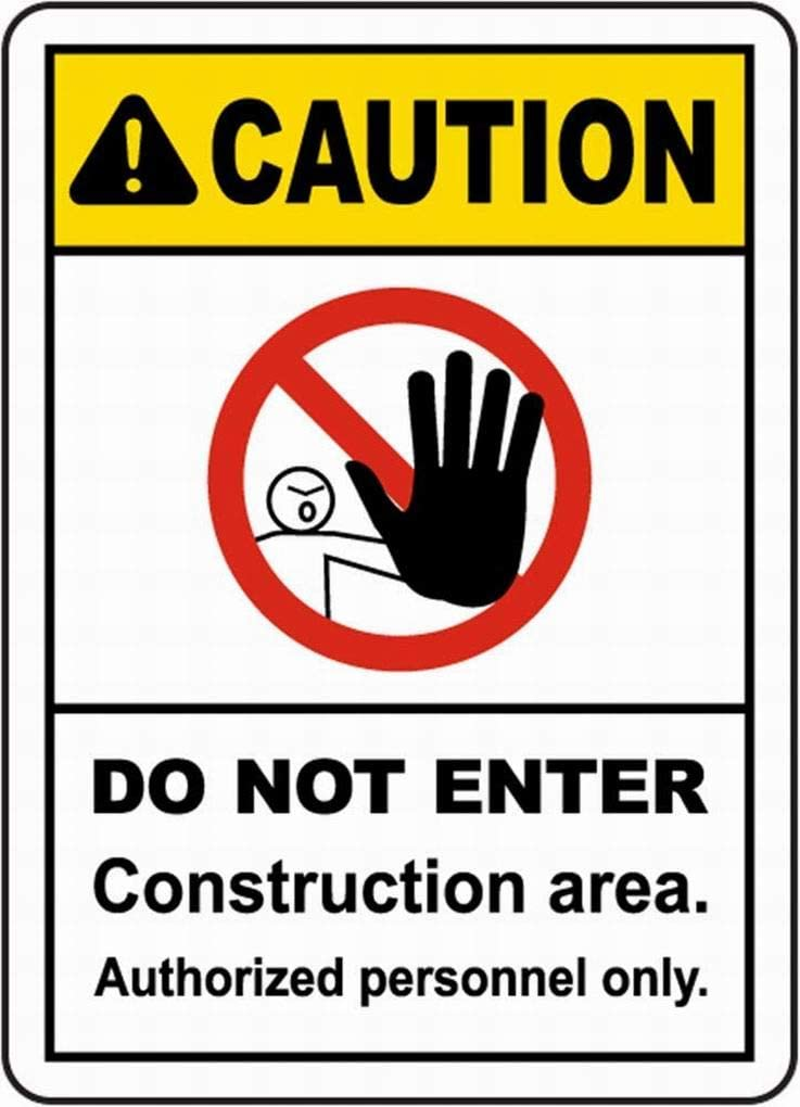 PaBoe Danger Sign Safety Sign 8x12 Construction Area Do Not Enter Sign Notice Sign Caution Tin Sign