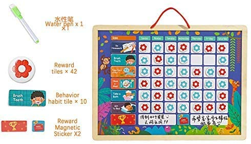 DONGKER Magnetic Calendar Chart Set, Daily Calendar Daily Responsibility Chore Chart Great Gift for Girls and Boys (Without Box)