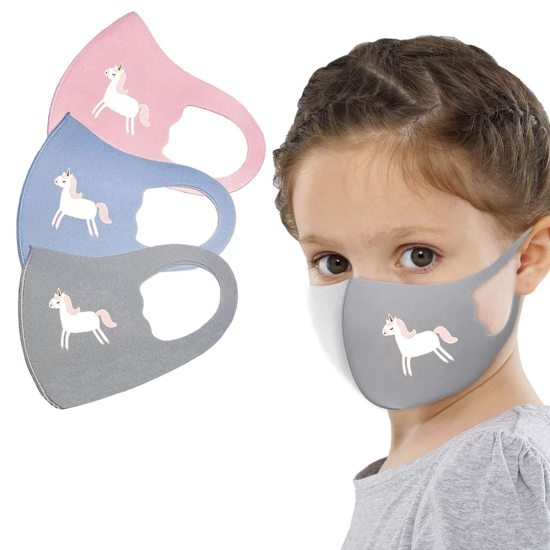 Reusable Washable Face Bandanas Protective Covering For Children 4 Pieces Set (Set of 3 Unicorn)