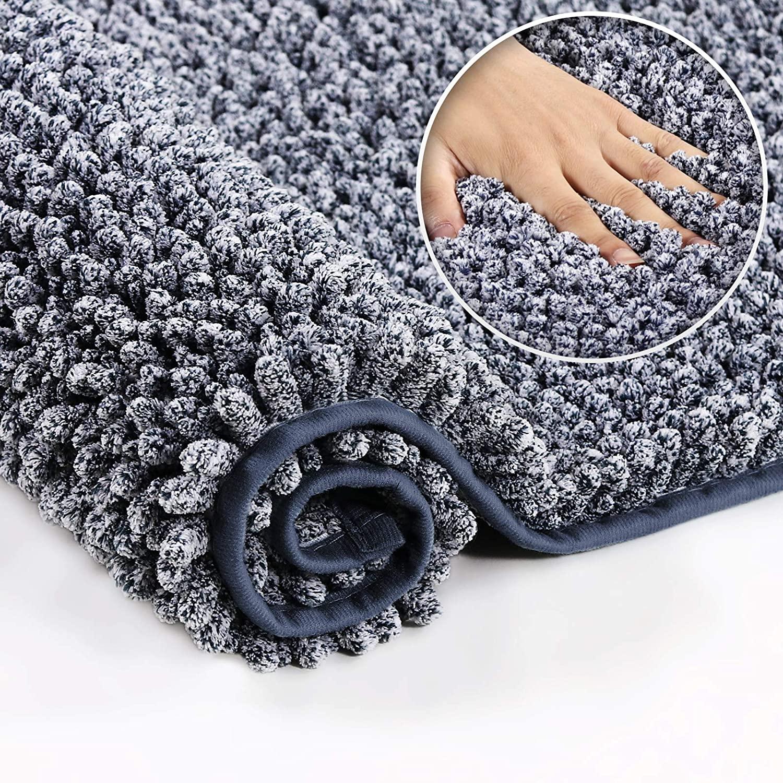 Extra Thick Shaggy Chenille Bathroom Rugs Non Slip Absorbent Bath Mats for Bathroom Noodle Bath Rug Super Soft Plush Carpet Mats for Bathroom/ Shower, Machine Wash Dry (20