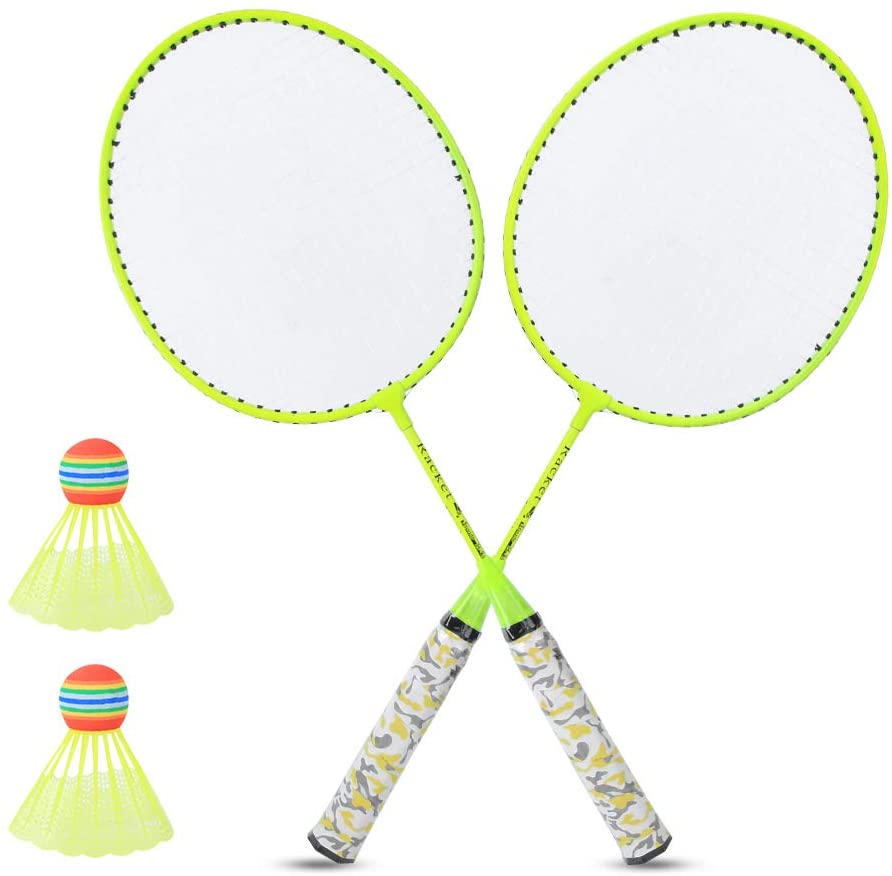 Yolispa 1 Pair Badminton Racket Set with 2 Balls Badminton Set Double Racket Lightweight