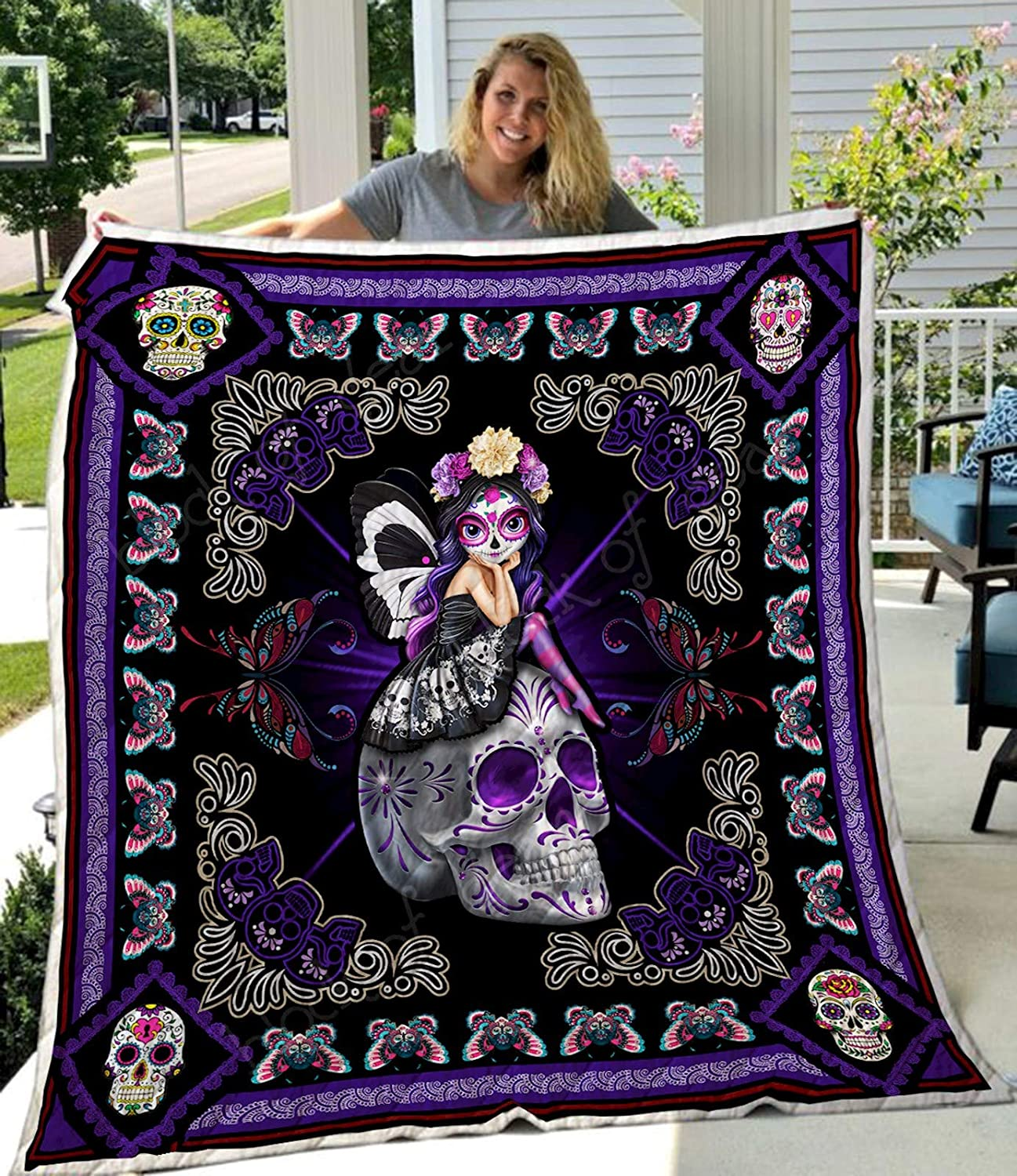Skull Quilt TH649, Queen All-Season Quilts Comforters with Reversible Cotton King/Queen/Twin Size - Best Decorative Quilts-Unique Quilted for Gifts