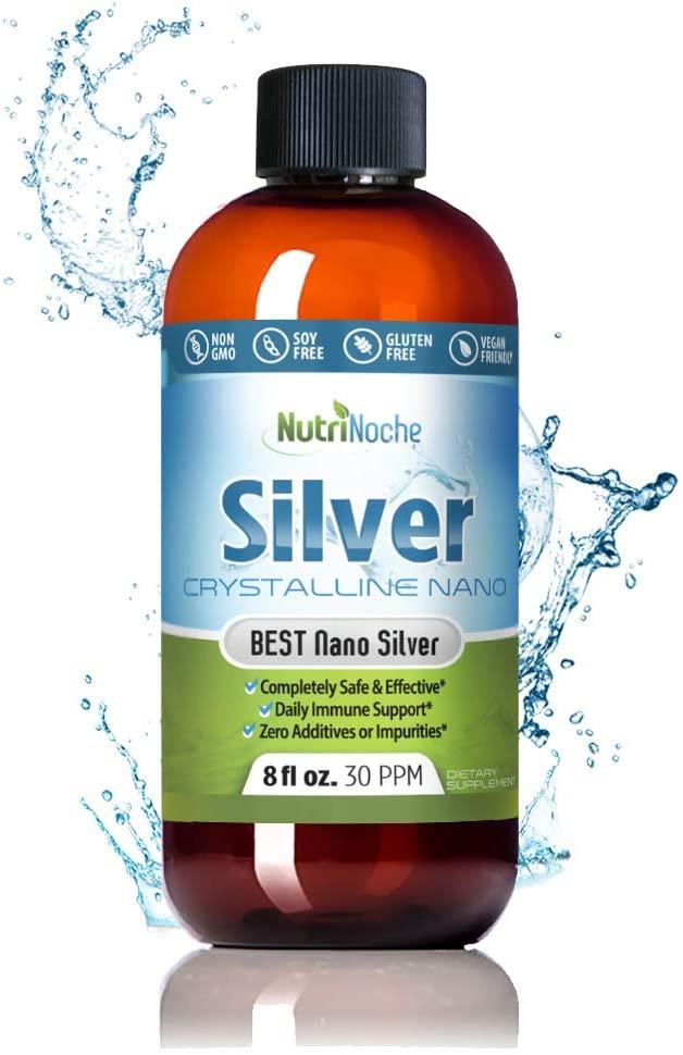 NutriNoche Colloidal Silver Mineral Liquid Supplement - 30 ppm - 8 Ounces - Colloidal Minerals