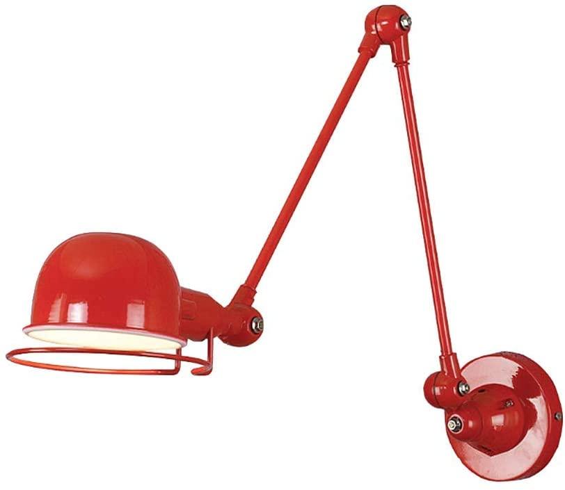 LAKIQ Industrial Wall Sconce Lighting Fixture Arm Adjustable Modern Wall Lamp Hardwire Indoor Wall Lights for Living Room Bedroom Workshop (Red)