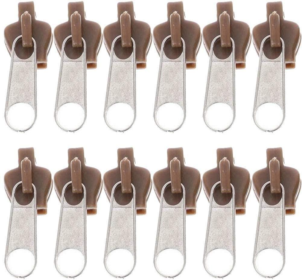 Universal Fix Zipper Repair Kit, Replacement Zip Slider Zippers Puller for Clothing Bags Outdoor Tents Coats Jeans Purses DIY Tools (Brown, 12pcs)