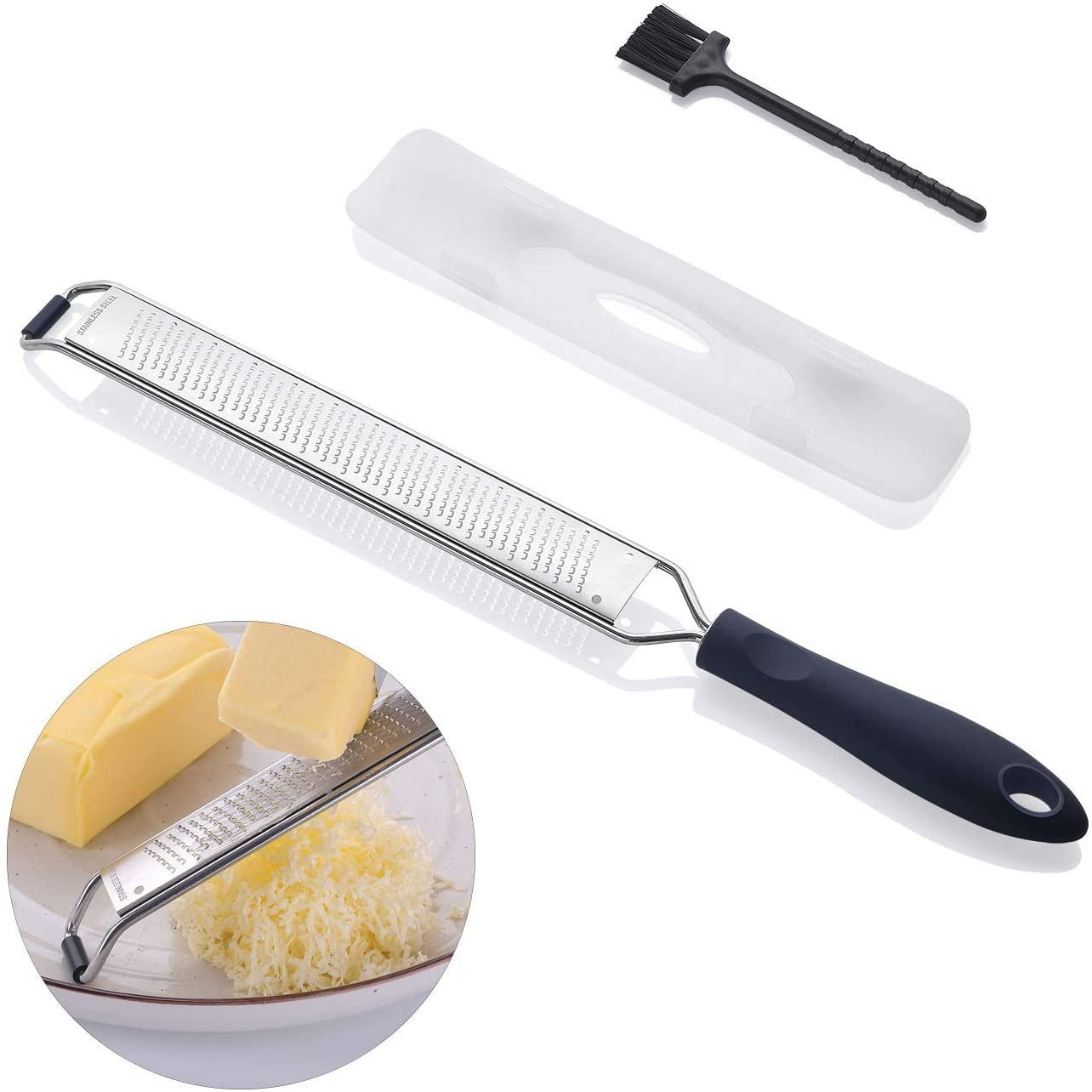 Cheese Grater Hand-held, Lemon Zester, Kitchen Zester Grater for Parmesan, Chocolate, Ginger, Garlic, Coconut, Nutmeg, Razor-Sharp Stainless Steel Zester Grater with Protective Cover, Dishwasher Safe