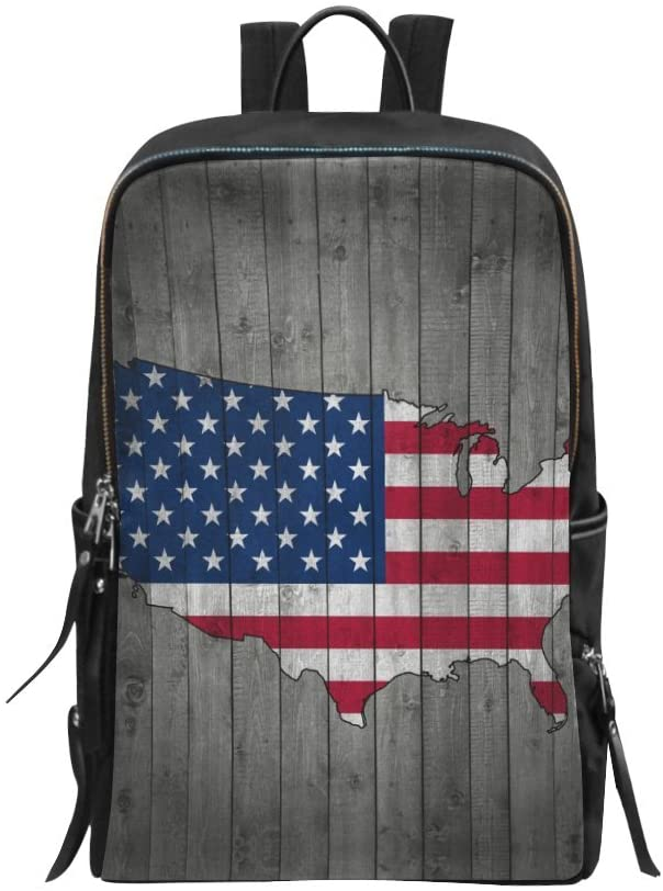 Book Bag Vintage United States Map on Wood Pattern Backpack