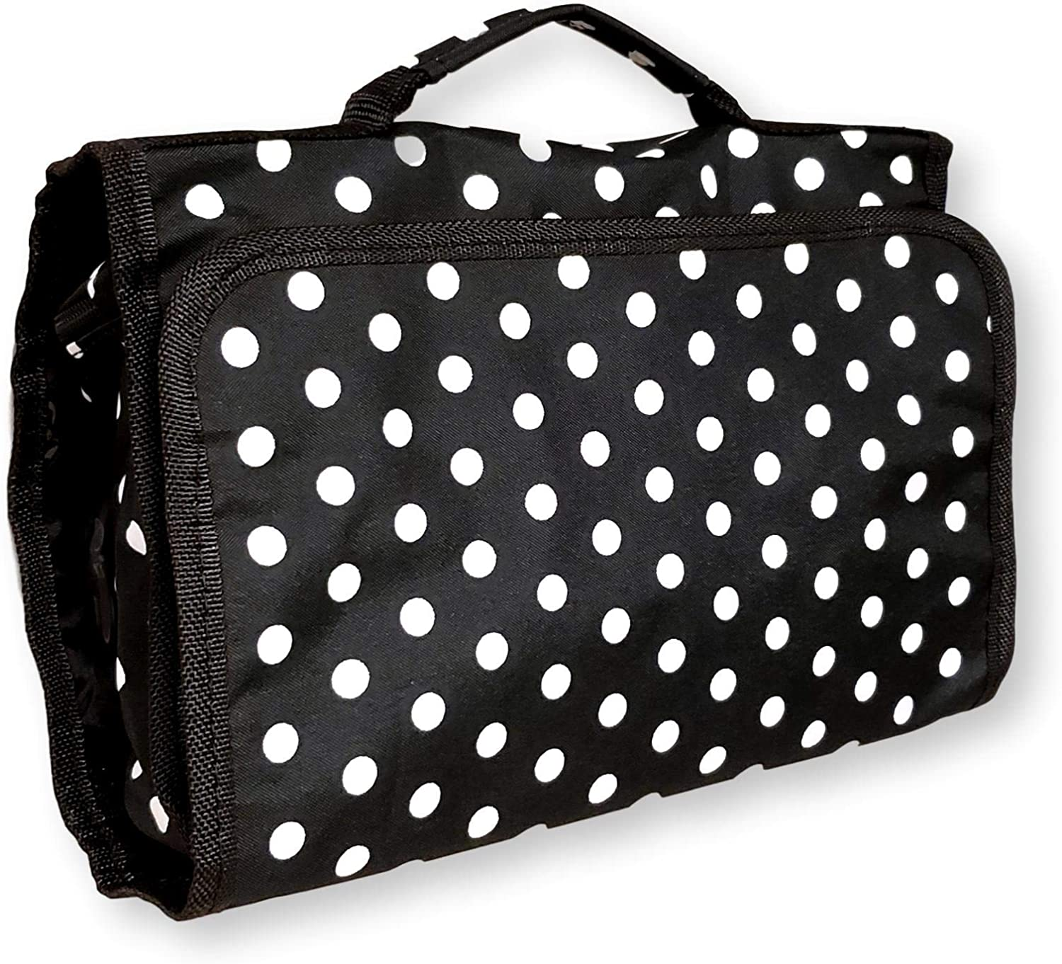 Hanging Toiletry Cosmetic Organizer Bag Roll up for Storage Travel Custom Embroidery Available (Black White Dots)