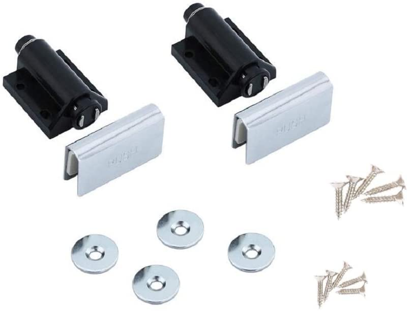 [2 Pieces] Magnetic Touch Push-Open Latch, Black Cabinet Drawer Magnet Push-Open Latch Hardware Recipe Clip (Single Head)
