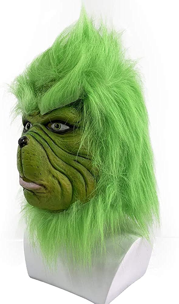 Christmas Mask Deluxe Latex Comedy Movie Halloween Party Props Green