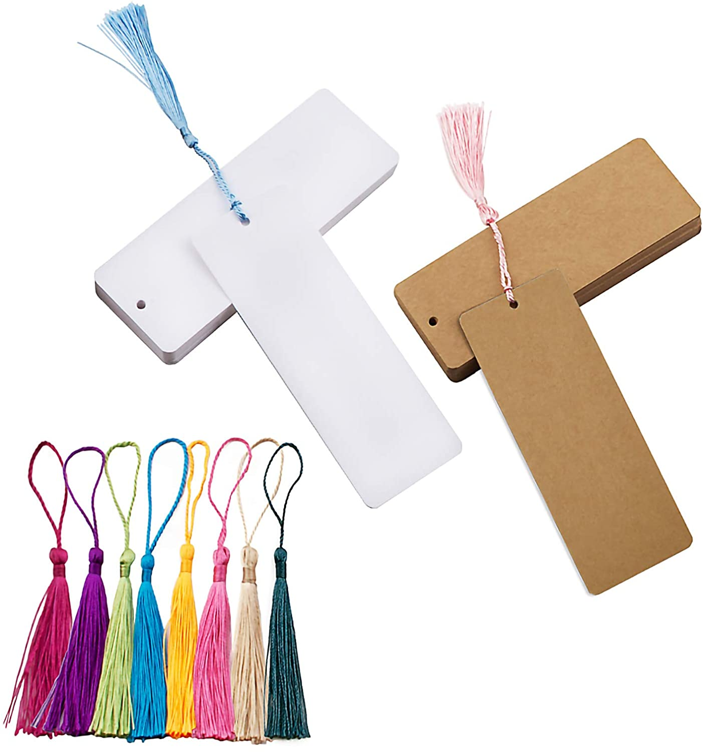 WANDIC Blank Bookmarks, Cardstock Bookmarks with Holes, 60 Pcs White Bookmarks & Brown Bookmarks and 60 Pcs Colorful Tassels for DIY Projects and Gift Supplies