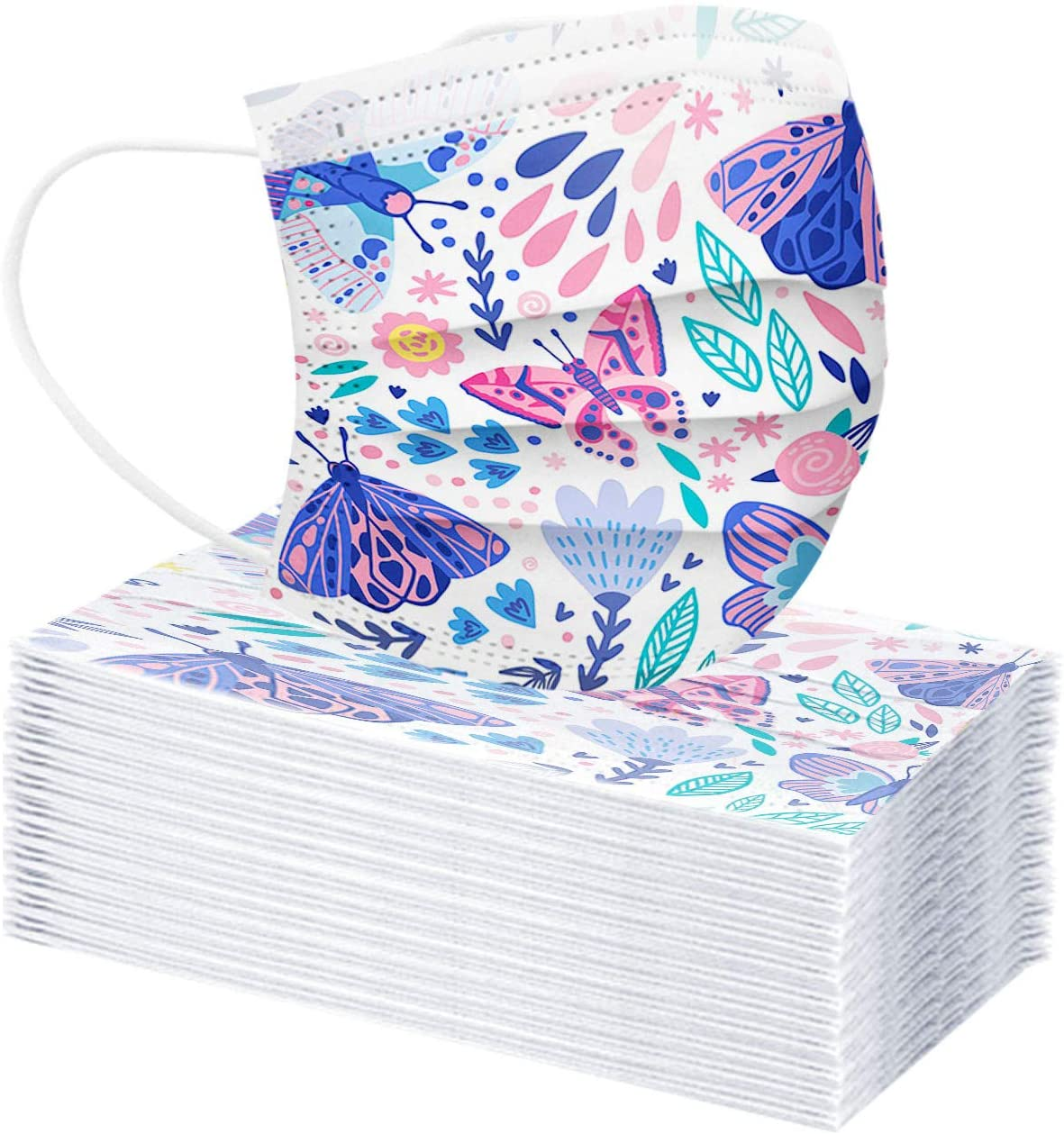 40Pcs No Reusable Butterfly Floral Print Flower 3-Ply Non-Woven Face Cloth Breathable Shield for Women Adults