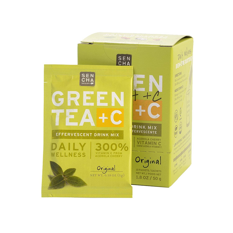 SENCHA NATURALS , Green Tea +C, Original, Box of 10 Packets | Effervescent Drink Powder Mix with Organic Matcha Green Tea, Antioxidant Vitamin C, Orange Peel, Turmeric, Ginger, Acerola Cherry. (76666)