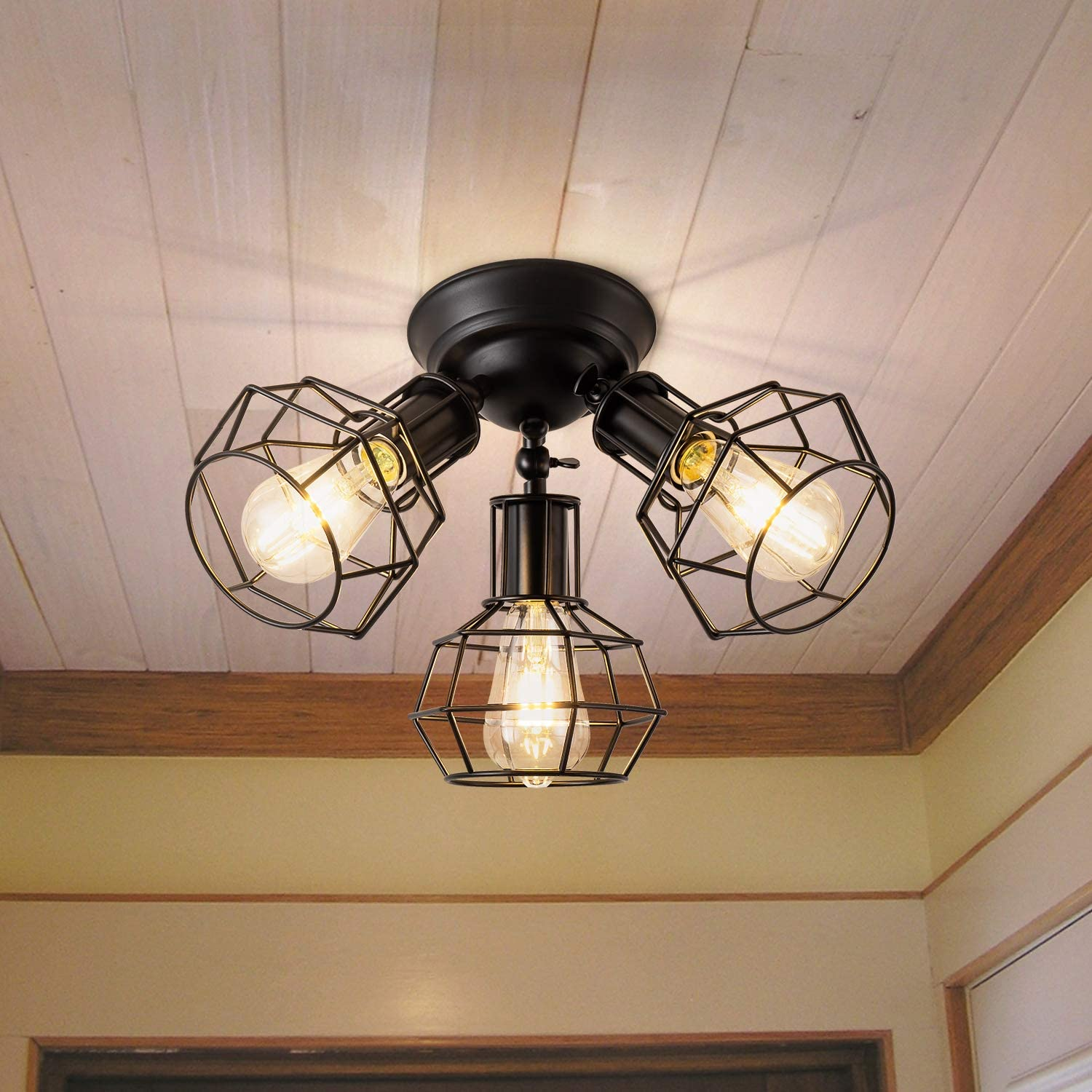 Rustic SemiFlushMountCeilingLight Industrial Black Metal Cage Ceiling Light Fixture 3-Light Adjustable Vintage Ceiling Lamp for Hallway Stairway Porch Entryway Kitchen Bedroom Laundry Farmhouse