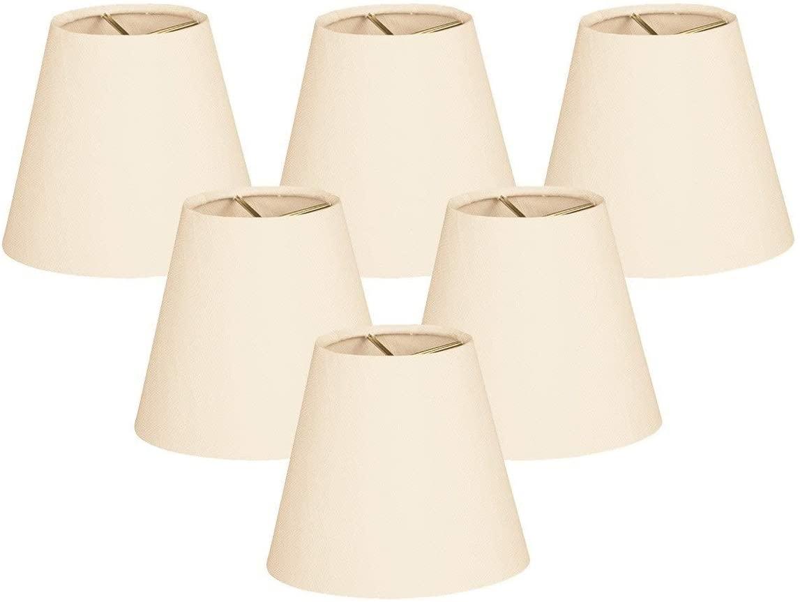 Hardback Empire Eggshell 4 X 6 5.5-inch Clip-on Chandelier Lamp Shade (Set of 6) Cream Modern Contemporary