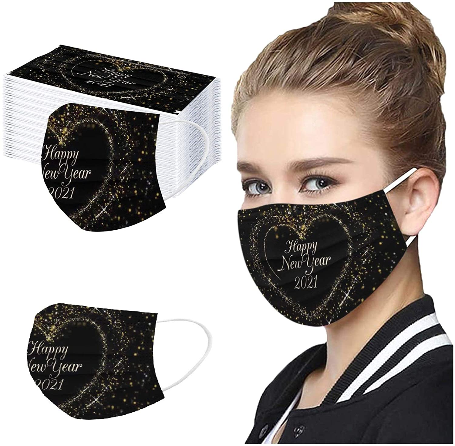 2021 Happy New Years Face_mask, 10/20/30/50/100PC Adult MÀsk, Protection Personal Face Shield Bandanas, for Running, Cycling, Outdoor Activities Men Women (10PC, Black)
