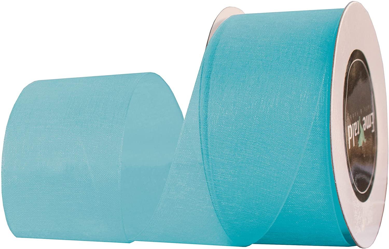 Premium Sheer Organza Ribbon, 25 Yards (Turquoise, 2-3/4 Inch)
