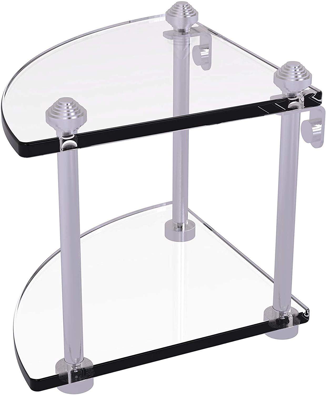 Allied Brass SB-3 Southbeach Collection Two Tier Corner Glass Shelf, Satin Chrome