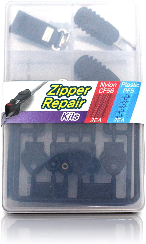 Zipper Slider Repair Replacement Kits for Nylon (2sets) & Plastic (2sets) Zipper - Chain Width No.5 (15/64 inch, 6mm) or No.6 (16/64 inch, 6.5mm) - Godo Zippy Set2A