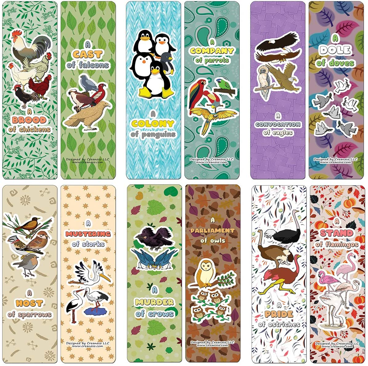 Creanoso Educational Bookmarks for Kids - Animal Group Names - Birds (12-Pack) - Stocking Stuffers Party Favors & Giveaways for Teens & Adults - Classroom Reward Incentives for Students and Children