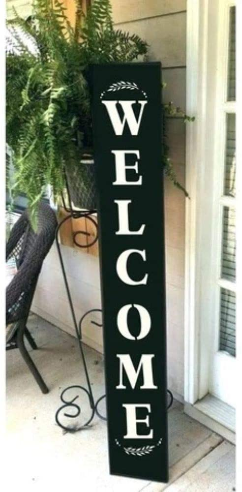 Welcome | Vertical Sign Stencil | 1- Piece Stencil for Painting