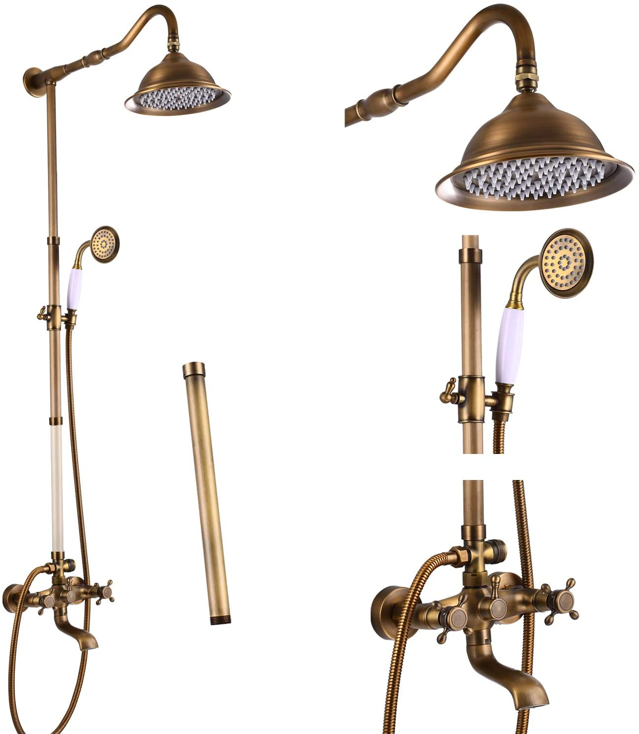 Aolemi Antique Brass Shower Faucet Set with Hand Sprayer and Tub Spout 12 Inch Extension Tube Included Bathroom 8 Inch Rain Shower Head System Wall Mount 3 Functions Double Cross Handle
