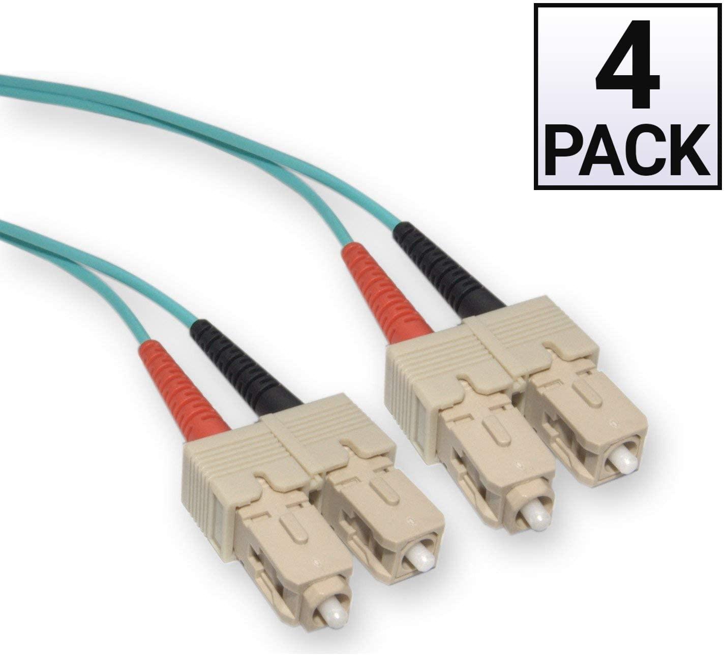 GOWOS (4 Pack) 10 Gigabit Aqua Fiber Optic Cable, SC/SC, Multimode, Duplex, 50/125, 5 Meter (16.5 Feet)