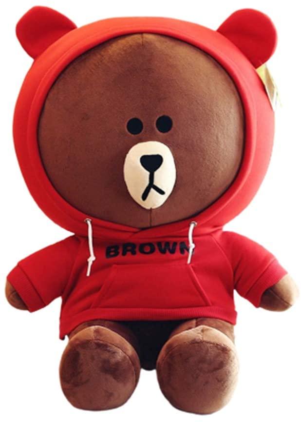 XIAOHUI Crystal Stuffed Bear Plush Animal Plush Toy 14/18/22 inch Animal Plush Doll, Bear Sleeping Bear Series, Hug Pillow, Children?s Cushion, Children?s boy and Girl Gift, Bear, (red,18 inches)