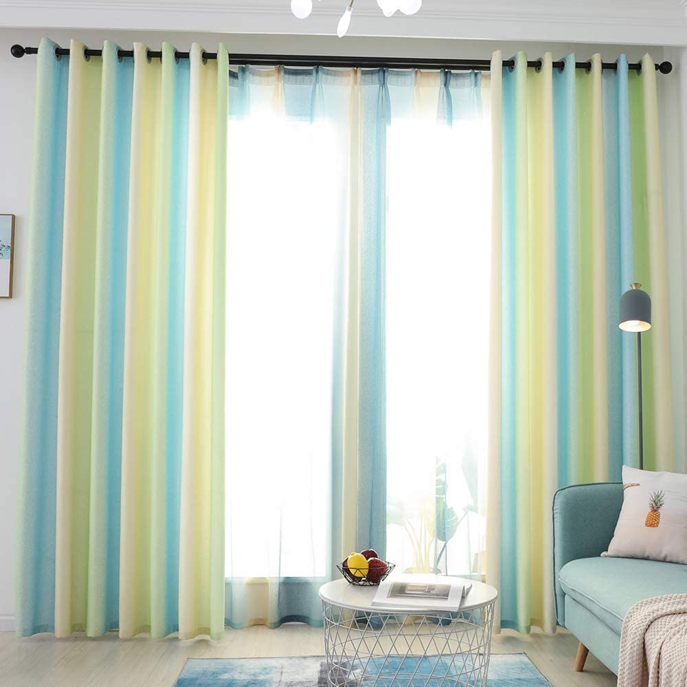 Gradient Sage Curtain Faux Linen Blackout Drapes for Living Room/Bedroom Window Panels Ombre Room Darkening Curtains for Teens 52x84 Inch,2 Panels
