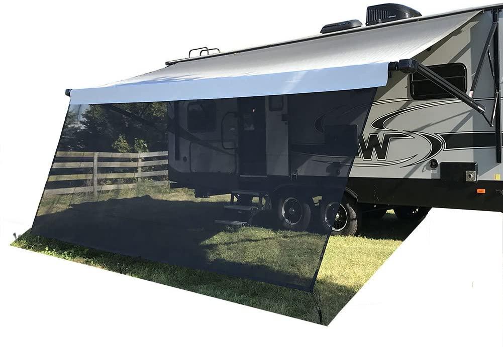 Tentproinc RV Awning Sun Shade 8' X 12'3'' Black Mesh Sunshade Screen Complete Kits UV Sunblock - 3 Years Limited Warranty