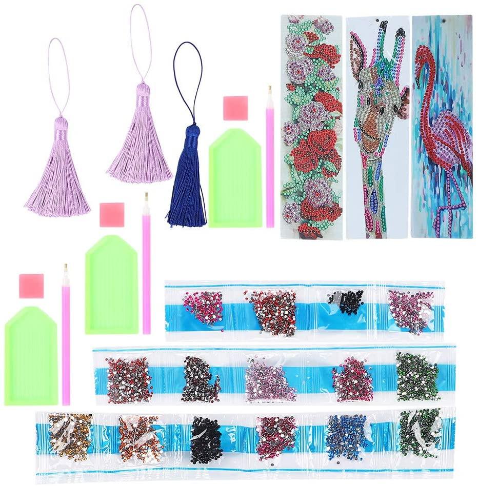 Zerodis 3 Set Diamond Bookmarks, 5D DIY Diamond Painting Bookmarks with Tassel Cross Stitch Book Decoration Adult Shiny Rhinestones Art Kits