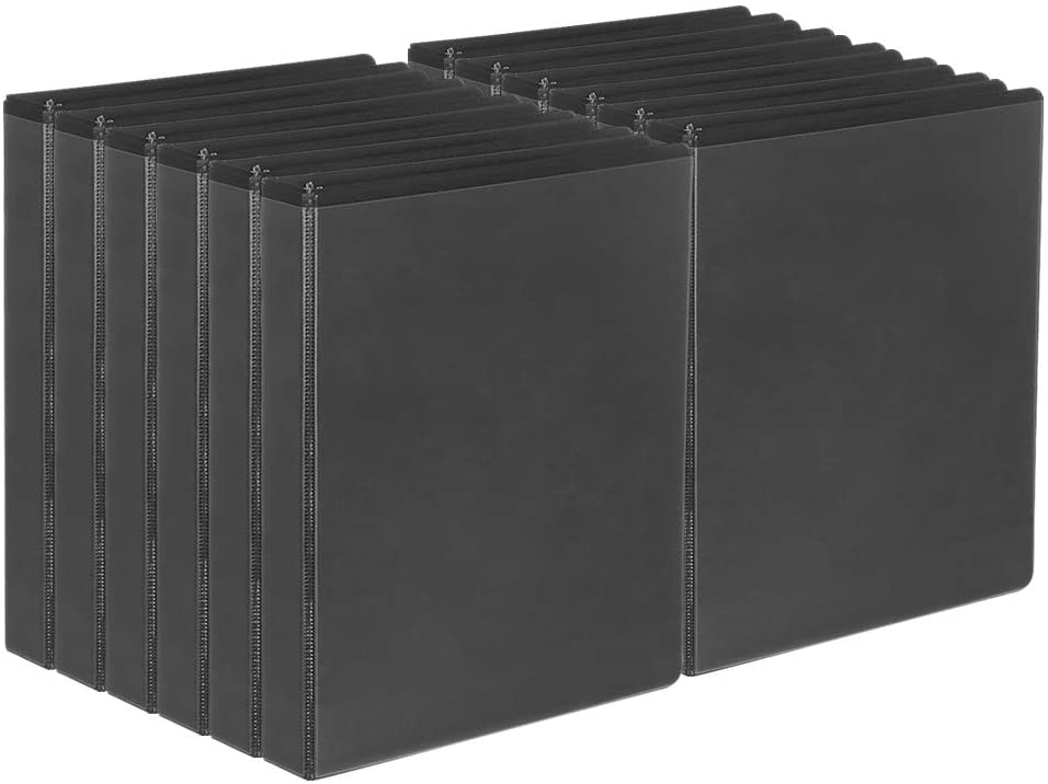 Comix D-Ring Basic-View Binder 1-inch 3 Ring Binders Holds 225 Sheets, 12 Pack (Black)