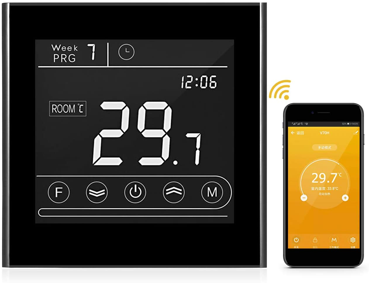 Gas Boiler Thermostat,KKmoon Smart Wifi Thermostat Programmable Gas Boiler Thermostat Temperature Controller LED Display Touchscreen Backlight Remote Control Anti-freeze Function Replacement