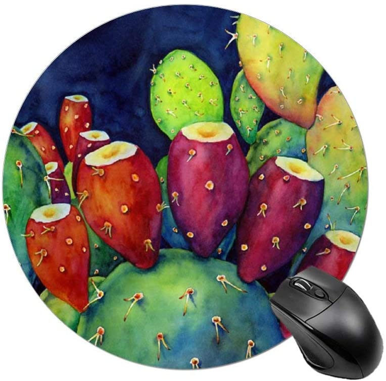 Mouse Pad,Round Anti-Slip Rubber Mousepad with Durable Stitched Edges for Gaming Office Laptop Computer PC Men Women Kids,Cute Custom Pattern,Cactus