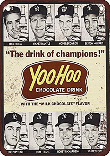 2 Pack 1964 Baseball Stars for Yoo-Hoo Vintage Look Reproduction Metal Tin Sign 8X12 Inches