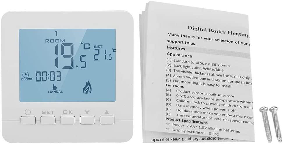 Smart Temperature Controller, Programmable Thermostat Digital LCD Display Smart Temperature Controller 5A
