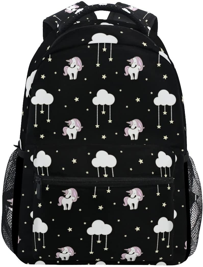 OREZI School Backpacks for Boys Teen Girls Kids,Cute Unicorn with Cloud Computer Backpacks Book Bag Travel Hiking Camping Daypack