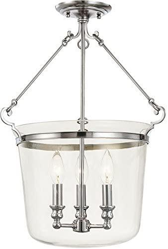 Hudson Valley 132-PN, Selkirk Glass Semi Flush Ceiling Light, 3LT, 225 Watts, Nickel
