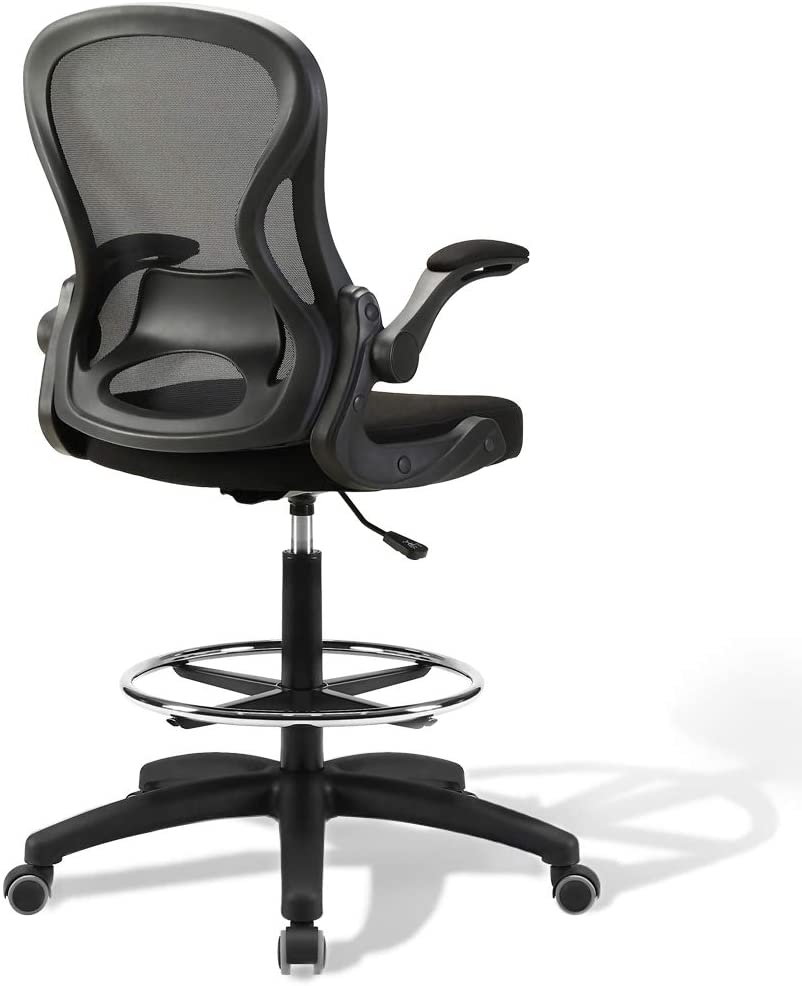 US Stock Drafting Chair, Tall Office Desk Chair with Foldable Arms, Height Adjustable Stool with Mid Mesh Back, Ergonomic (Black)