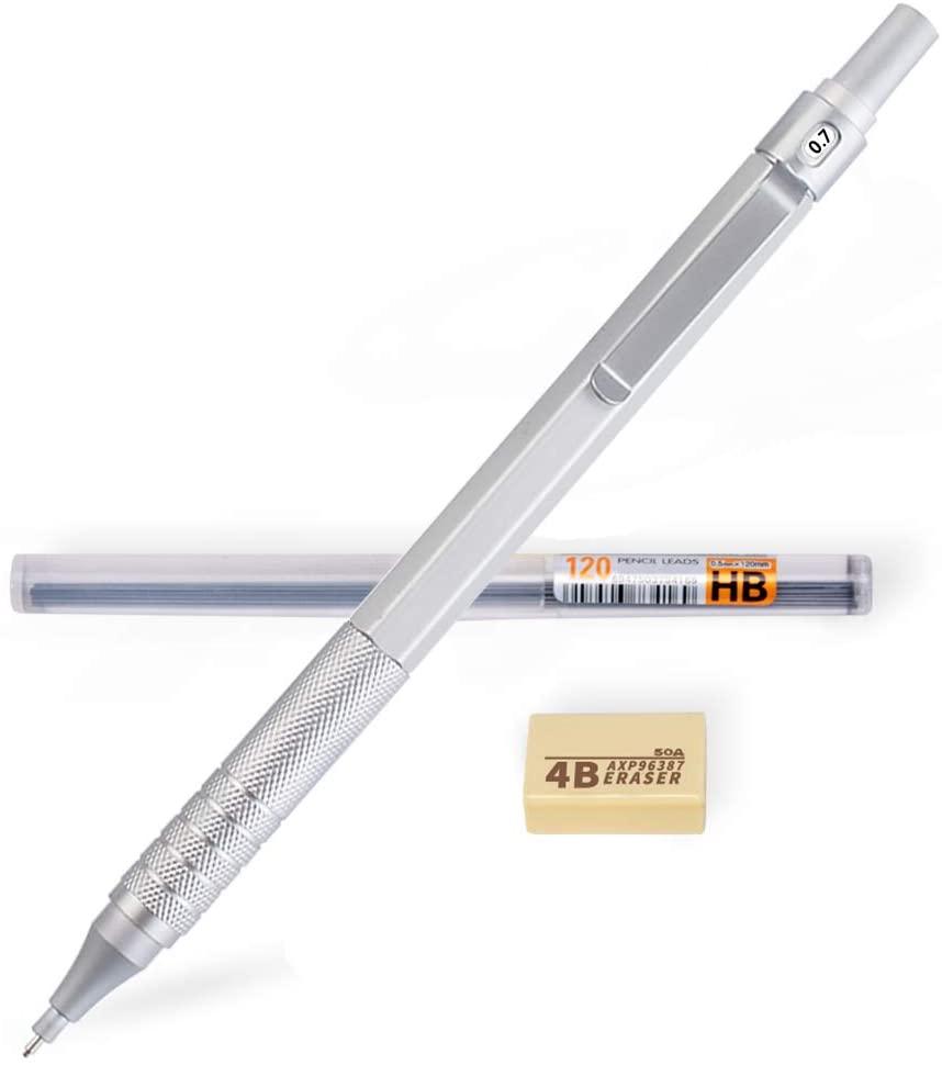 JIMMIDDA 0.7mmMechanical Pencils Set, Eraser and HB Lead Refills, Metal Automatic Pencils drafting materials .Drawing, Sketching, (Sliver, 0.7)