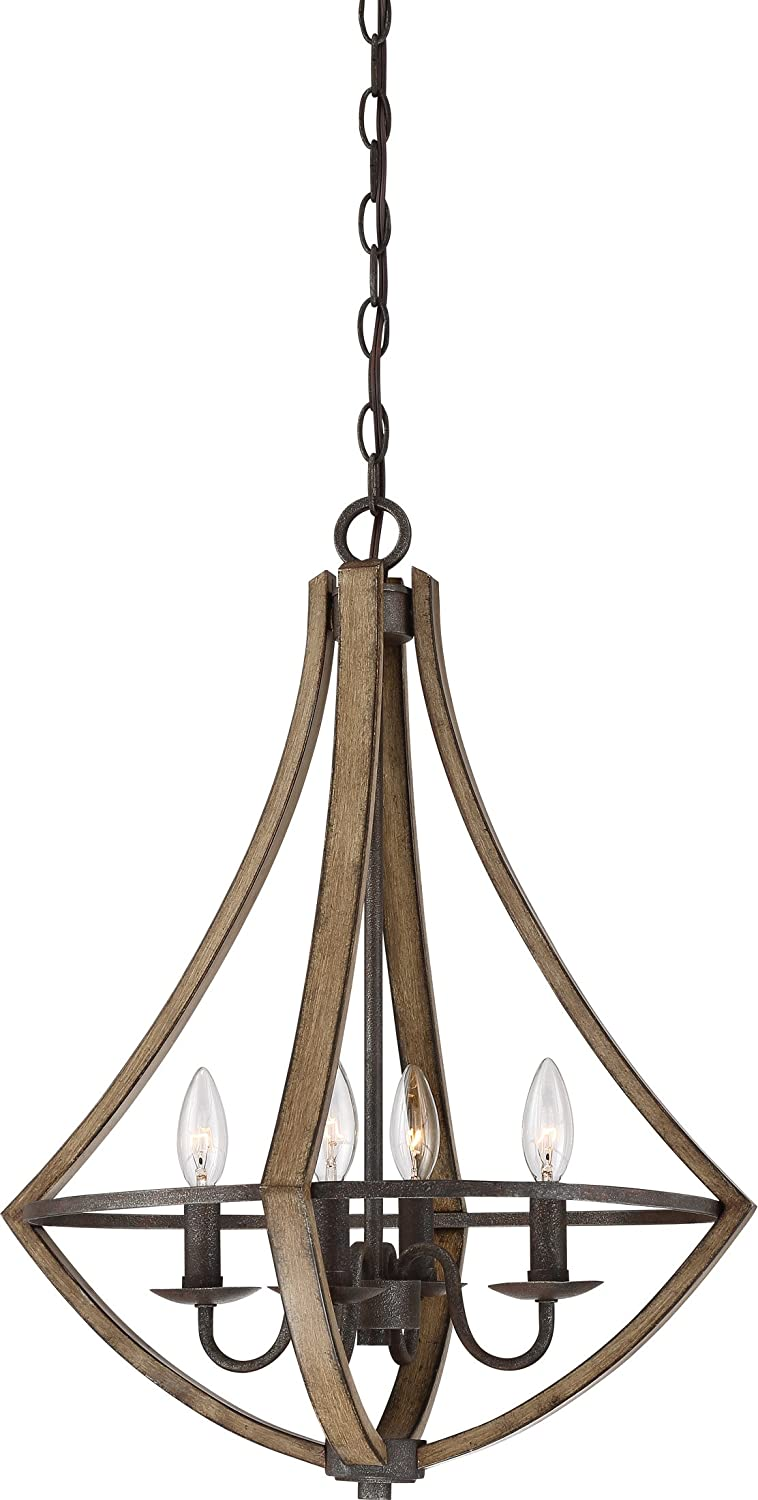 Quoizel SHR2818RK Shire Industrial Dinette Chandelier, 4-Light, 240 Watts, Rustic Black (24H x 18W)
