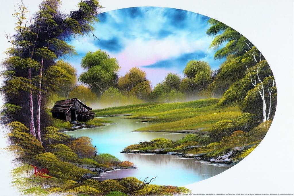 Bob Ross Lakeside Cabin Art Print Painting Laminated Dry Erase Sign Poster 12x18