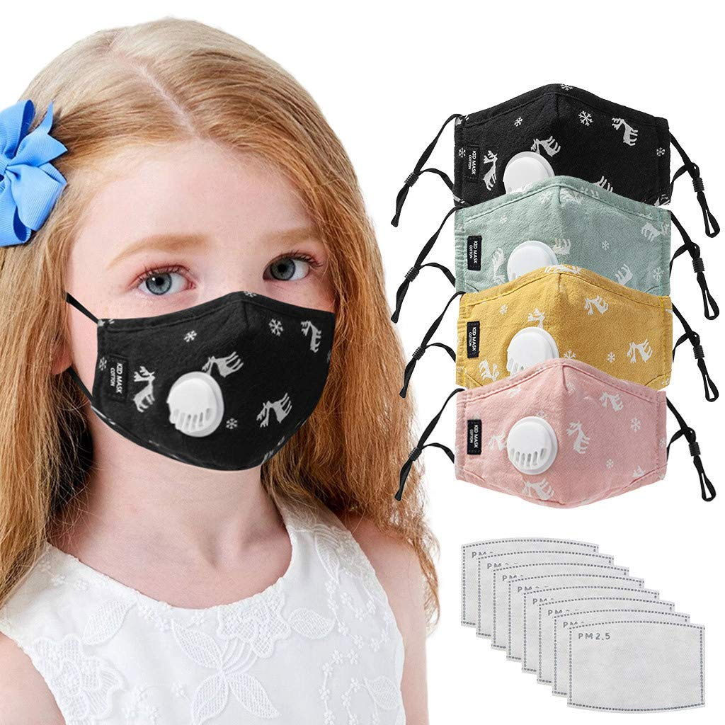 Stzonece Christmas Elk Face Madks For Kids, Face Bandanas Cotton With Activated Carbon Filter Replaceable Filters Haze Dust Face Health for Kids