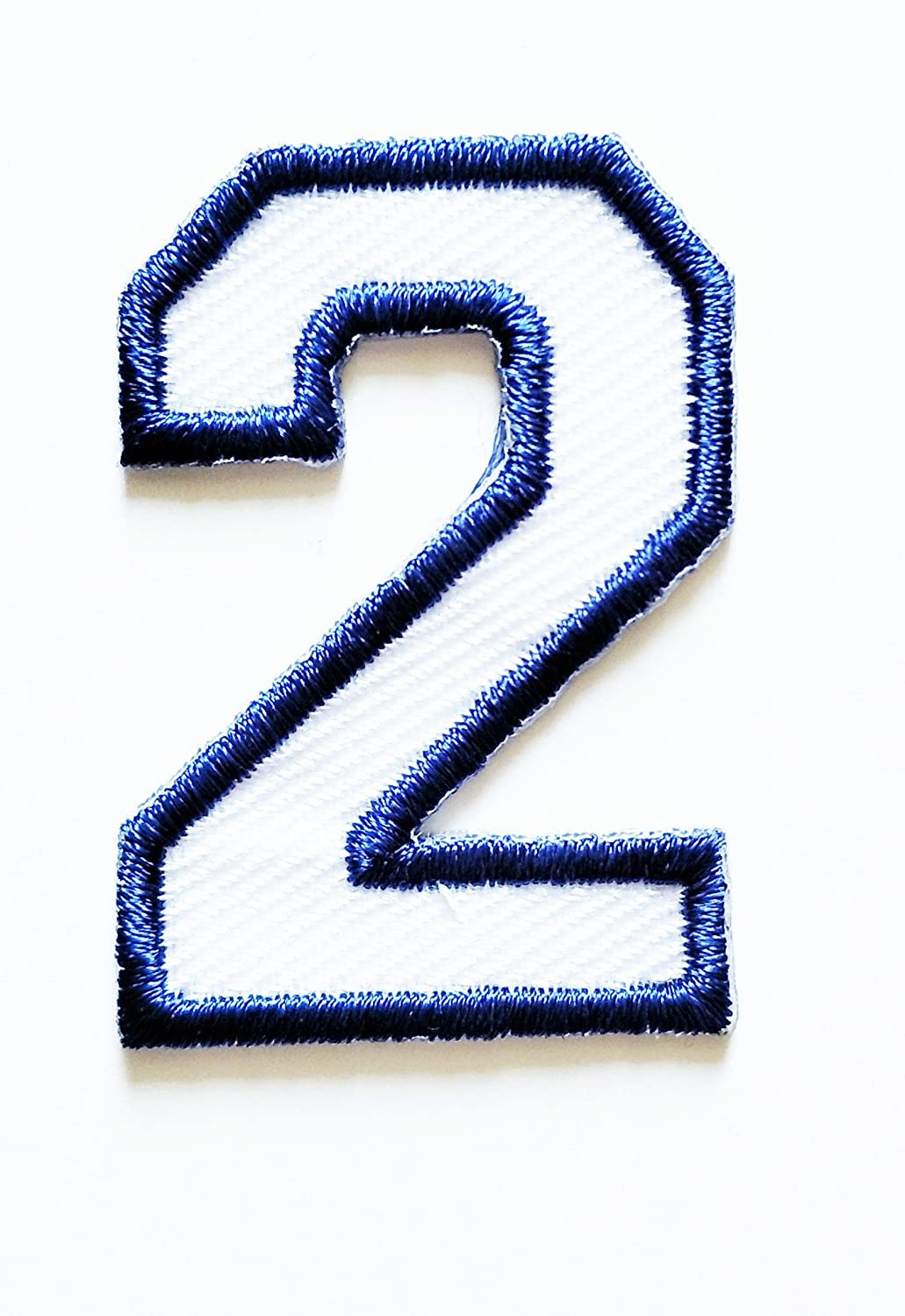 HHO White-Blue Number 2 No 2 math counting no 2 school Patch Embroidered DIY Patches, Cute Applique Sew Iron on Kids Craft Patch for Bags Jackets Jeans Clothes