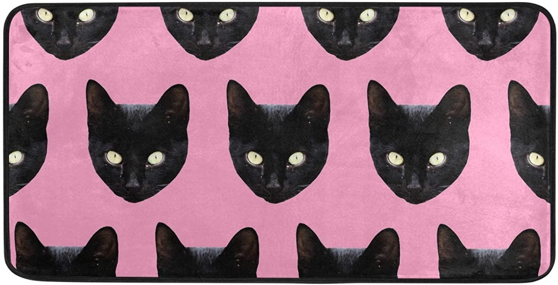 Non Slip Kitchen Rug Mat Black Cats Pattern Anti-Fatigue Comfort Floor Mat Oil Stain Resistant Kitchen Bath Rug Doormat Carpet for Kitchen Bathroom Indoor Outdoor 39 x 20 Inch