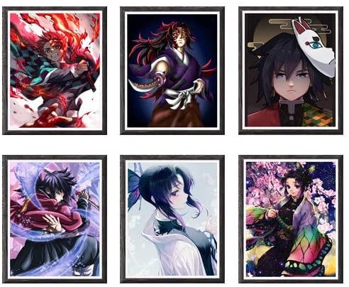 XXJ Art Demon Slayer Tanjirou Kokushibou Giyuu Shinobu Original Design Anime Artwork Poster Prints Home Decoration,8 x 10 Inches,No Frame,Set of 6