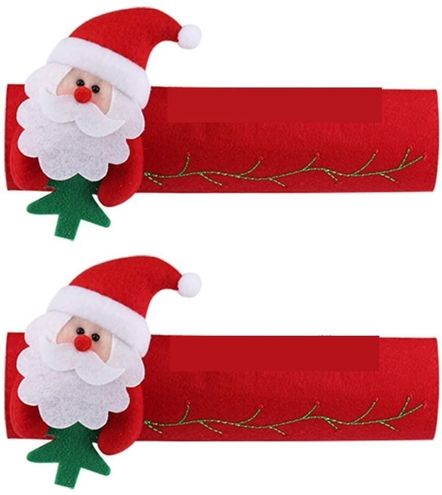 Gaosu Christmas Refrigerator Door Handle Covers,Santa Snowman Kitchen Appliance Handle Covers,Door Handle Protector,Holiday Decorations(A Santa Claus)