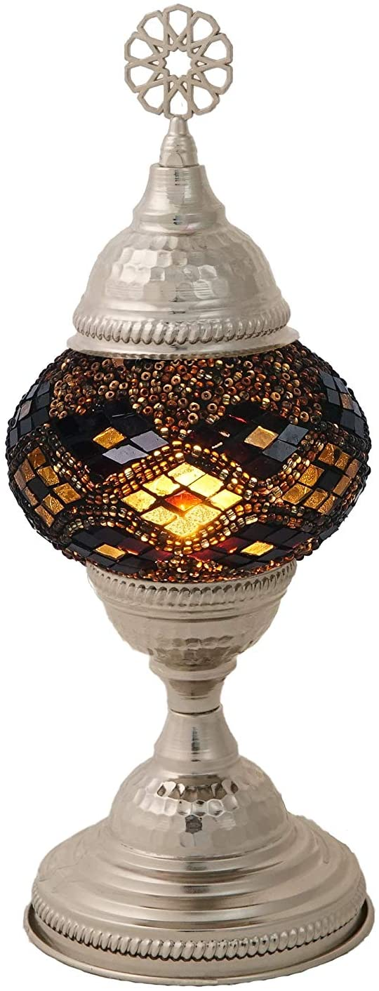 LaModaHome Turkish Moroccan Handmade Mosaic Glass Table Lamp Light with Decorative Silver Colored Copper Fixture for Bedroom, Livingroom and Winter Garden, Arkab Posterior