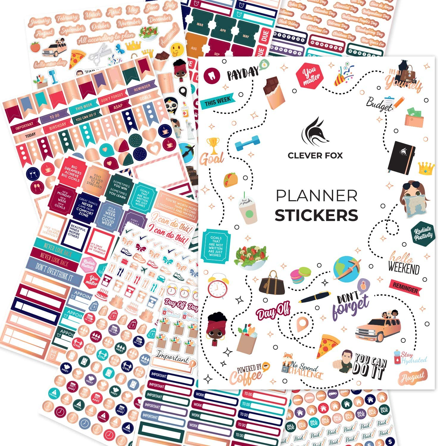 Clever Fox Planner Stickers - Monthly, Weekly & Daily Planner Stickers 14 Sheets Set of 1360+ Unique Stickers by Clever Fox (Value Pack)
