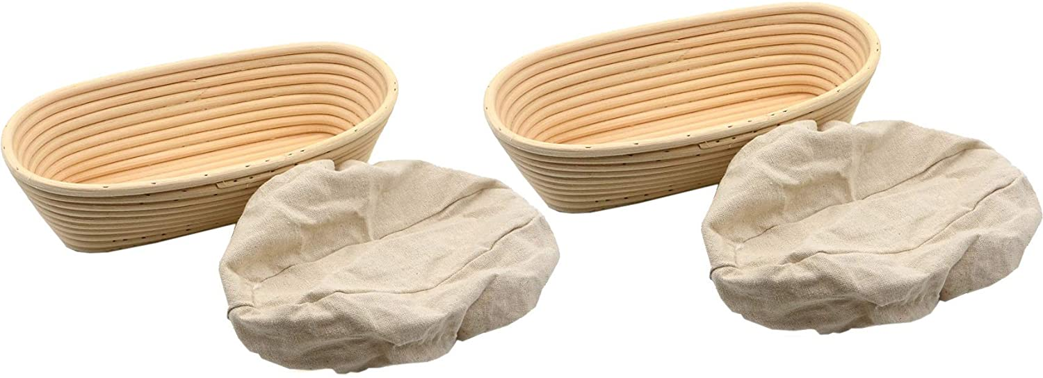 XDELX Bread Proofing Baskets Set of 2 11 inch Oval Shaped Dough Proofing Bowls w/Liners Perfect for Professional & Home Sourdough Bread Baking
